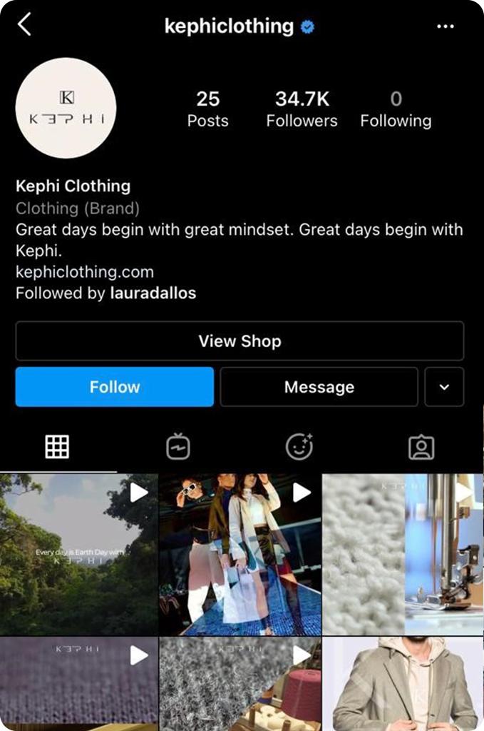 Kephi Clothing Instagram